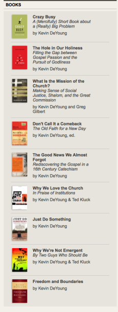 Kevin DeYoung books on his blog