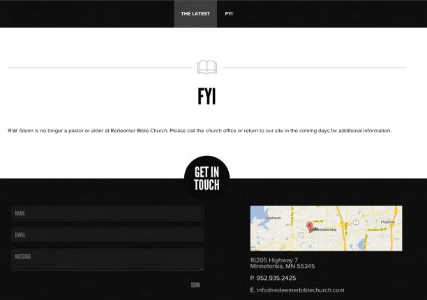 2014-09-11 FYI RW Glen no longer part of Redeemer