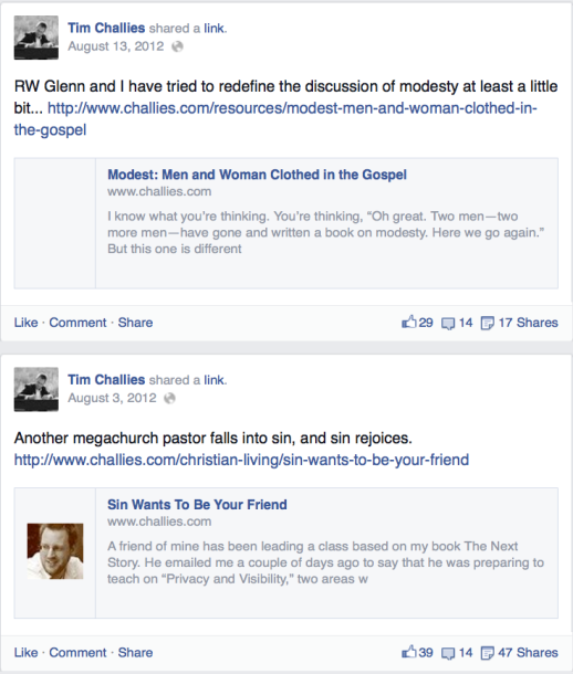 2014-09-15 Tim Challies FB page missing link to Modest