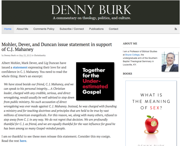 2014-10-29 Denny Burke supports T4G statement on Mahaney