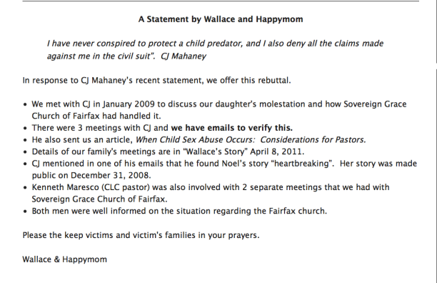 Screenshot 2014-10-10 A statement by Wallace and Happy Mom on Mahaney