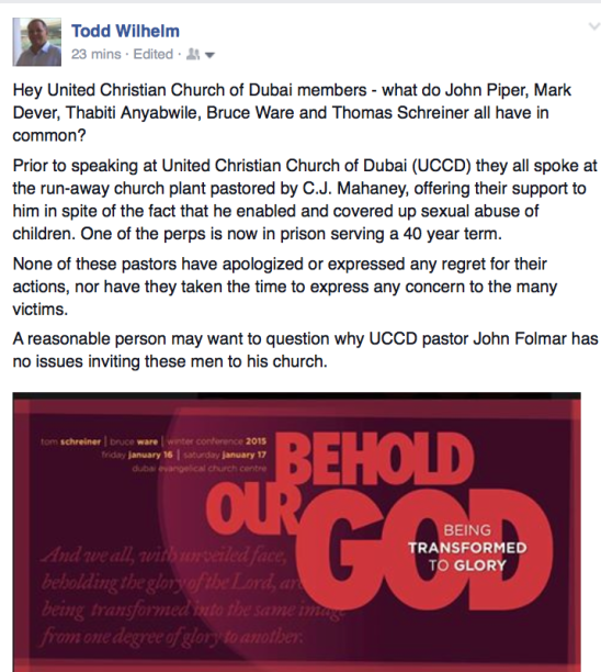 2015-01-13 My FB on UCCD Ware Schreiner conference