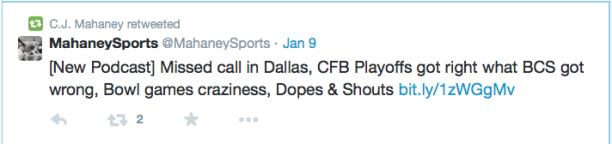 2015-01-14 Mahaney tweet on sports