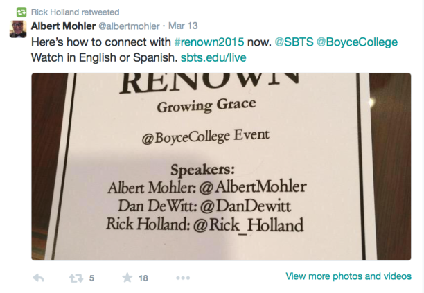 2015-04-18 Al Mohler tweet about Holland speaking