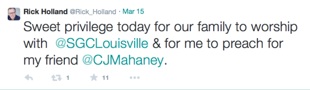 2015-04-18 Holland Tweet speaking at Mahaney church